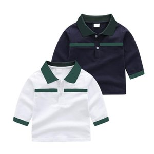 Fashion Designers kids Baby Boys Girls t-shirts shirts Long Sleeve Turn-down Collar Plaid Blouse tops Childern Cotton white navy tshirt Pullover Girl Sweatshirt