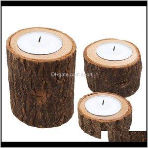 홀더 장식 정원 드롭 배달 2021 3pcs / 세트 나무 촛대 나무 캔들 홀더 테이블 식물 꽃 음모 홈 장식 결혼식 부품