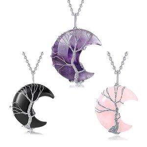 Дерево Life Wire Obsopted Crescent Moon Подвеска Ожерелье Натуральная смола Заживление Кристалл Камень Reiki Кварцевые Драгоценные Ювелирные Изделия