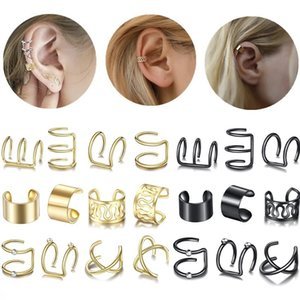 Fashion Gold Star Leaves Non-Piercing Ear Clip Earrings For Women Simple Fake Cartilage Ears Cuff Jewelry Accessories