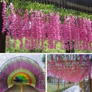 12pc lot Artificial Silk Wisteria Trailing Viola Flower Vine Wall Hanging Rattan Garland Gallery Party Garden Arch Wedding Decor Decorative