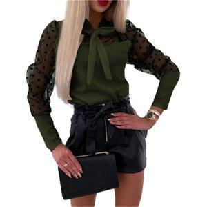 Womens Blouses And Tops Sheer Mesh Long Puff Sleeve Polka Dot Print Shirt Bowknot Shirts Blouse Office Lady Top Women's &