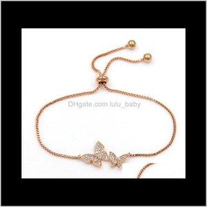 Charm Bracelets Jewelrytiny Trendy Cubic Zirconia Crystal Butterfly Luxury Cz Stone Rose Gold Adjustable Bracelet For Women Jewelry S-L00031