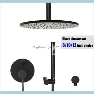 Bathroom Shower Sets Faucets, Showers & Accs Home Garden Brass Black Ceiling Mount Set Round Rain Head 8 10 12 Inch Choice Water Mixer