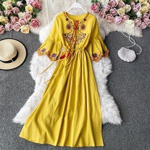 Party Dresses Women's Indie Folk Dress Desert Grassland Travel Cyber Celebrity Po Modeling Embroidery Lacing Long A-line Female ML866