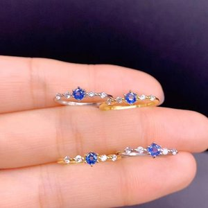 Cluster Rings Small Exquisite Natural Blue Sapphire Ring Real 925 Silver Golden Color Round Gem Date Friend Gift Lucky Birthstone