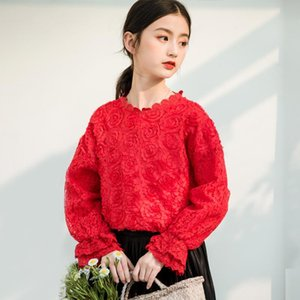 Shirts Elegant Party Lace Tops For Teenage Girl Long Sleeve Red Rose Flower Blouse Princess Kids Girls Clothes