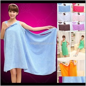 El Supplies Home Garden Drop Delivery 2021 Solid Color Lady Girls Spa Shower Towel Body Wrap Robe Magic Girl Wearable Bathrobes Bath Skirt Jf