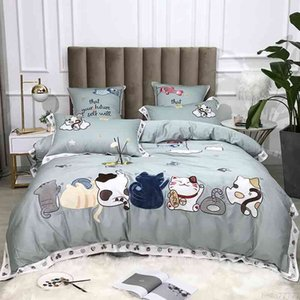 Cats and Floral Embroidery Chic Art 600TC Egyptian Cotton Soft 4Pc Bedding set Queen King Duvet Cover Bed Sheet