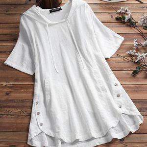 T-Shirt Donsignet Woman Tshirts Spring Summer Cotton Linen Plus Size Loose Short Sleeve Hooded Women M-5XL Women's IN81