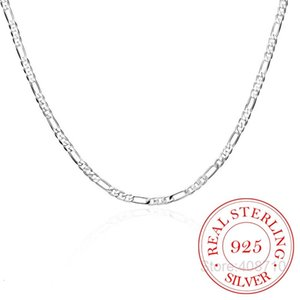 8 Sizes Available Real 925 Sterling Silver 4mm Figaro Chain Necklace Womens Mens Kids 40 45 50 60 75cm Jewelry Kolye Collares