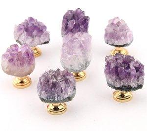 Home Natural Amethyst Crystal Knobs Cabinet Stone Pulls Gemstone Handles for Cupboard Drawer Dresser Office