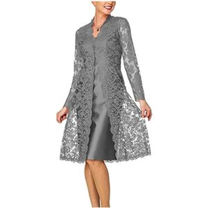 Dress Suits For Women Two Piece Set With Jacket Mother Of The Bride Dresses Long Sleeve Lace Plus Size Wedding Guest Robe 2021 Work