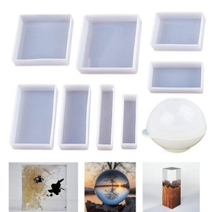 Casting Molds Silicone Square Rectangle Ball Molds 9Pcs Different Sizes,Silicone Casting Epoxy For Resin Jewelry,Soap