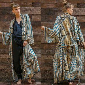 Belted 2021 Katoen Printed Bikini Cover-Ups Elegant Self Komono Jurk Tuniek Women Plus Size Beach Wear Swim Suit cover Up Beach