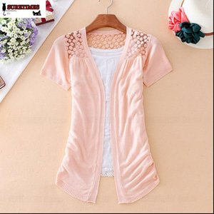 Women Sweater Summer Lace Sweet Candy 12 Colors Crochet Hollow Out Short Sleeve Knitwear Sexy Blouse Cardigan Cute Tops