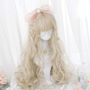 Cosplaysalon H762440 Lolita 60CM Long curly blonde pony Nice synthetic party Dame Cosplay Hair wig + Cap