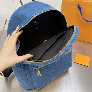 Azul Denim Mochila Bolsas De Ombro Back Back Moda Hangbag Alta Qualidade Mulheres Saco De Escola Padrão de Carta String Gold Zipper Alta capacidade