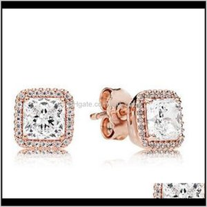 Spring Rose Gold Plated Timeless Elegance Stud Earrings With Cubic Zirconia Fits European Pandora Charm Jewelry Rpmdi Fwlg9
