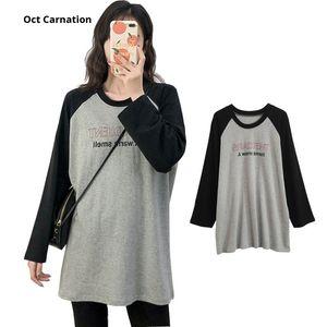 Maternity Tops & Tees Raglan Long Sleeves Pregnancy Clothes T Shirt 2021 Women's Spring Wear 3XL 8501
