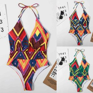 S-xl Multicolor Summer Female One-piece Sexy Concise Swimsuit Bikini Tiro Alto Halter Bow Tie with Chest Pad F4