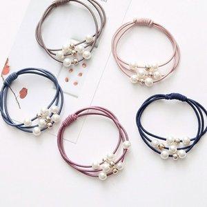 5 pz / lotto Capelli coreani Anello Accessori Ragazze Hair Elastic Ties Multi Layer with Pearls Corda Hairband