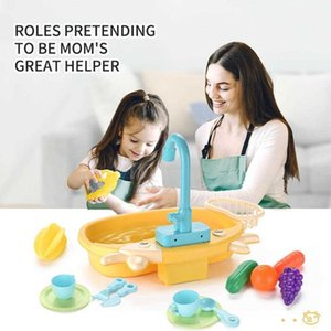 Kids Electric Dishwasher Mini Food Early Educational Summer Role Playing Girls Toys Kitchen Toy Set