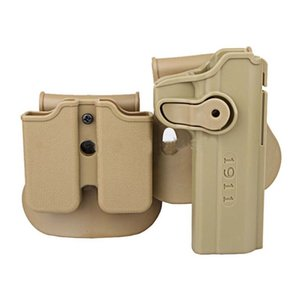 Colt Imi Style Roto Rh Pistol & Magazine Quick Release Paddle Retention Rot Double Holster Scopes for Tactical Airsoft 1911 Rifle Tan