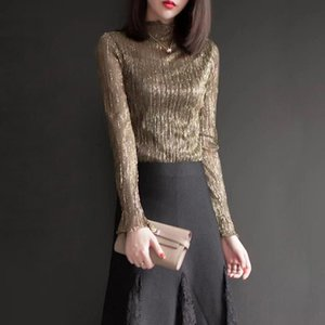 HStar 2021 Bright Gold Silk Blouse Shirt Women Blouses Spring Ladies Clothes Blusas Long Sleeve Vintage Womens Tops Women's & Shirts
