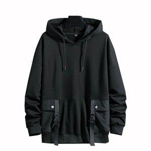 Pullover Hoodies Men Women Casual Hooded Black Ribbons 2021 Autumn Streetwear Sweatshirts Hip Hop Harajuku Male Topsfree shipp