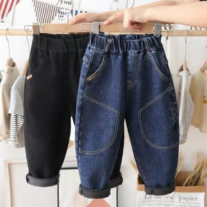 Children's Jeans Boys' and Autumn Thin Spring All in One Veet Winter Korean Plush Baby Cotton Pants