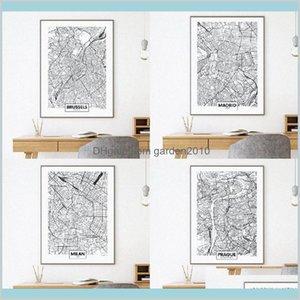 Dipinti Arti, Artigianato Regali Casa Giardino Giardino Europa Paesi Città Madrid Milano Praga Mappa Poster Stampe Cardiff Brussels Street Ro