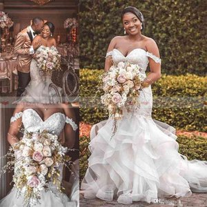 2020 African Plus Size Beaded Appliques Mermaid Wedding Dresses Off The Shoulder Boho Bridal Gowns Tiered Ruffles Organza Chruch Bride Dress