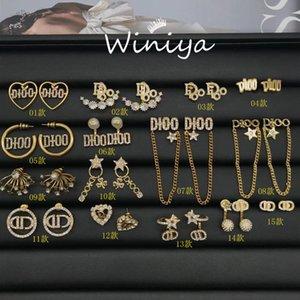 designer Jewellery earrings womenfamily new style brass letter inlaid diamond earrings female net red same Earrings S925 silver needle 1CVJ