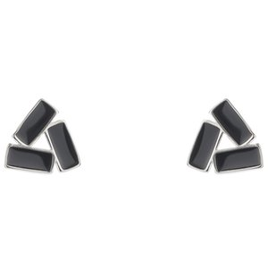 Real 925 Sterling Silver Black Triangle Stud Earring Fashion Party Jewelry Earrings with BOX for Women Mens