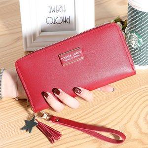 Designer estilo womens bolsa de marrom flor moeda bolsa simples borla longa menina estudante carteira personalidade de embreagem saco sacos de telefone carteiras vermelhas