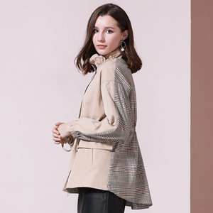 Windbraker Women 2021 New British Style Autumn Mosaic Khaki Stripe Mandarin Collar Short Trench Coat Office Lady