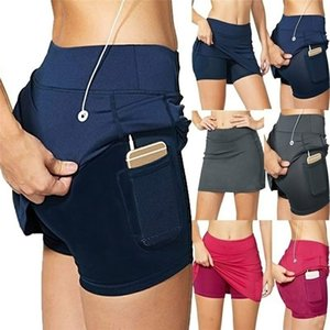 Women 2-In-1 With Pocket Tennis Skorts Athletic Sports Running Pencil Golf Skirts Shorts Plus Size S-5XL 210309