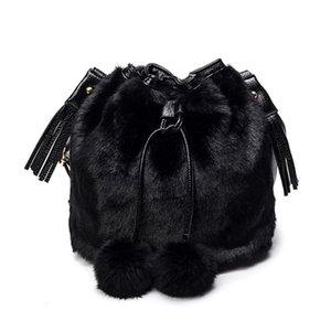 Winter Fashion Women Shoulder Bag Small Furry Faux Fur Bucket Drawstring Hand Girls Purse Cross Body With Pom Storage Boxes & Bins