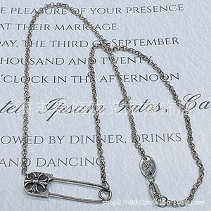 Cross Necklace croquet pin clavicle chain short girl's necklace personality fine 925 Sterling Silver