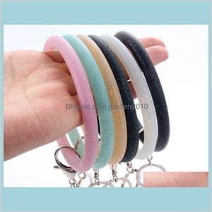 Party Favor Event & Supplies Festive Home Garden Silicone Wrist Key Ring Fashion Glitter Bracelet Sports Keychain Bracelets Bangle Rou