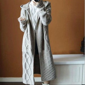 Fashion Korean Twist Knitted Long Womens Sweaters Cardigans Women Loose Hooded Sweater Coat Woman Solid Casual Open Stitch Coats Mujer