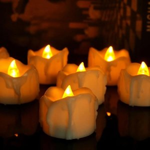 6 12 24pcs Amber Yellow Flickering Timing Flameless LED Tea Light Candles With Timer For Decorations (6 Hrs On 18 Off)