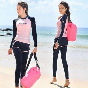 Wetsuits Xuanhai Diving Femenino Split Style Pantalón de manga larga Pantalones de traje de baño Protector solar Secado rápido Snorkeling Three Piece Jellyfish Traje