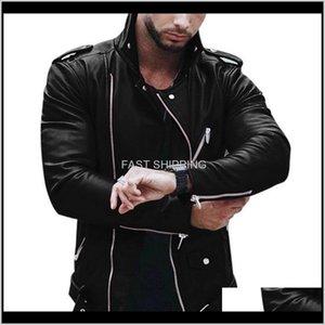 Apparel Clothing Outerwear Coats Mens Zipper Leather Jacket Men Autumn Winter Slim Fit Motorcycle Coat Hip Hop Streetwear Fashion Mjmh5