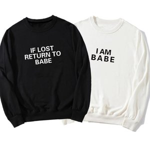 Autumn Women Men Couples Funny Hoodies Sweatshirt Casual If Lost Return To Babe I Am Letter Print Pullover Matching Clothes Women's & Sweats