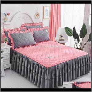 1Pc Skirt Princess Mattress Pink Blue Summer Korean Style Solid Bed Cover Full Queen King Size Bedding Set Bs4Hh Fnavj