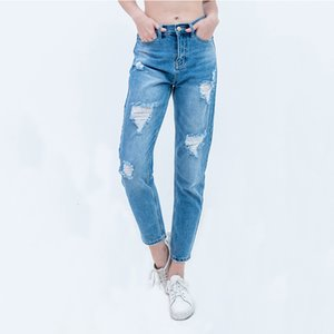 ladies ripped for woman mom jeans pants boyfriend women with high waist push up large size