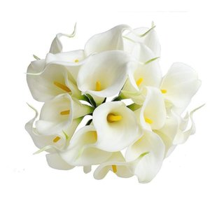 20pcs Artificial Calla Lilies Flowers PU Fake Bouquet Real Touch Bridal Wedding For Home Decor Decorative & Wreaths