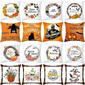 Halloween cartoon pumpkin castle print Decorative Pillow Peach skin cushion cover sofa pillows home supplies business gift HWB10537
